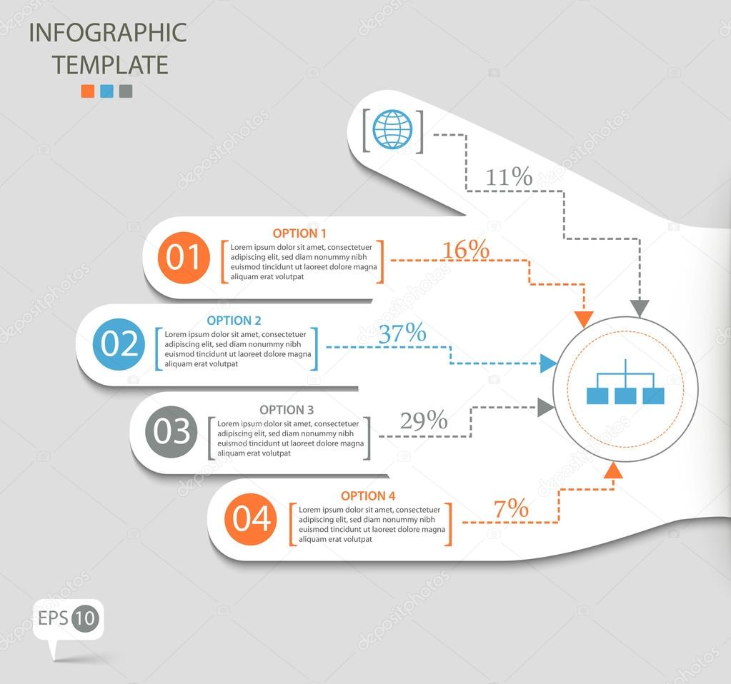 Infographic options with abstract hand