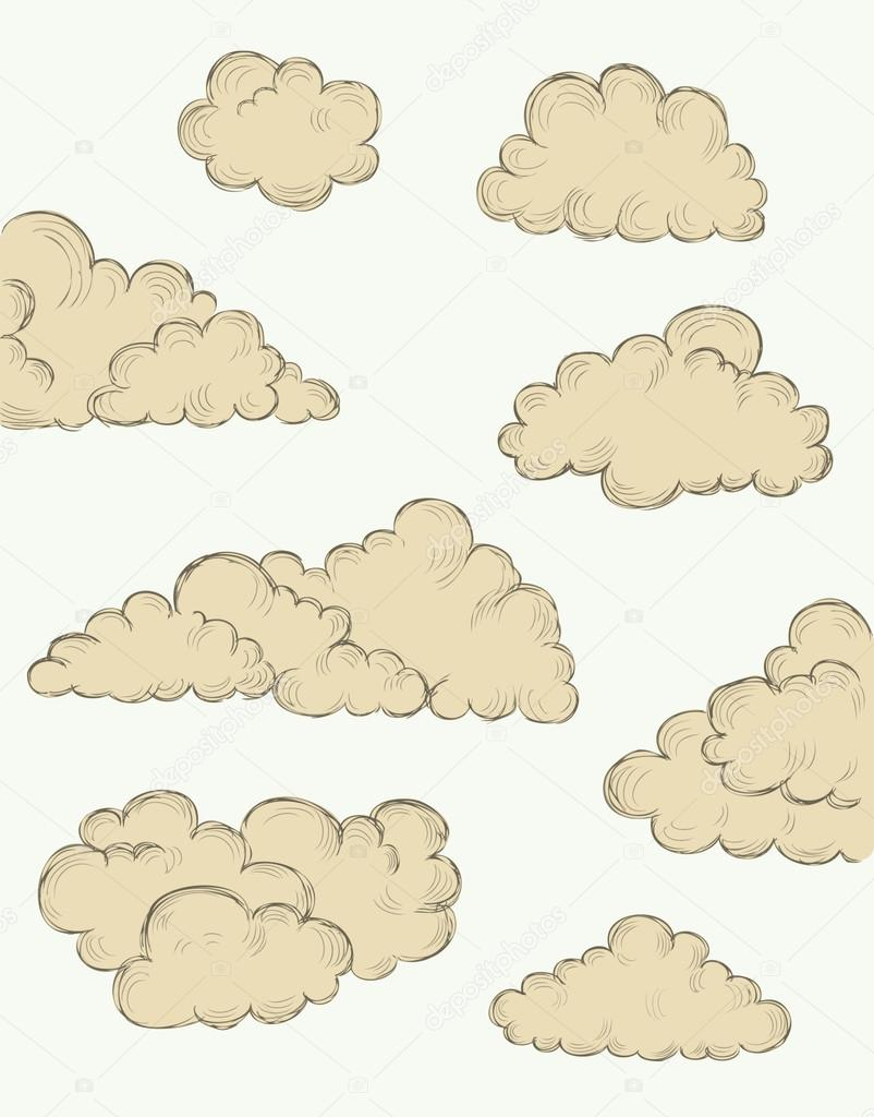 vintage hand drawn clouds