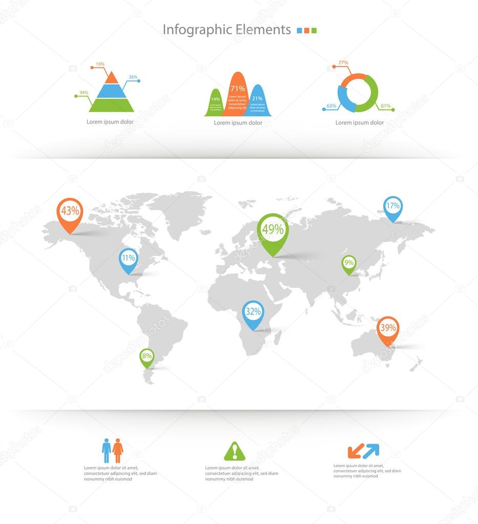 Detailed infographic elements set with world map graphics and ch detailed infographic elements set with world map graphics and ch stock vector gumiabroncs Images