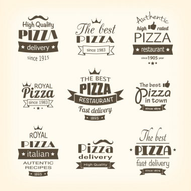set of premium quality pizza labels