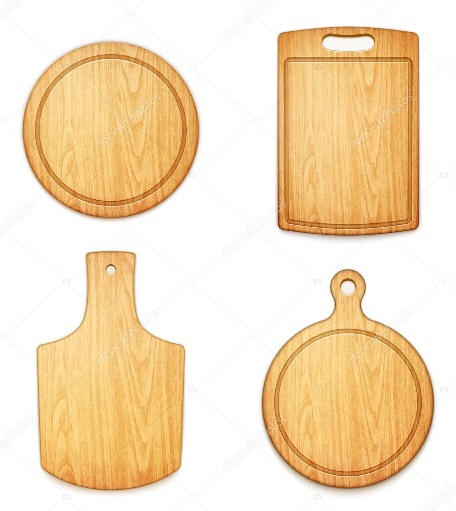 Set of empty wooden cutting boards on white background