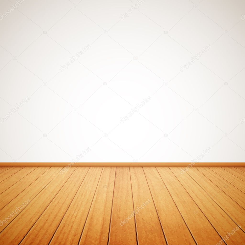 realistic wood floor and white wall