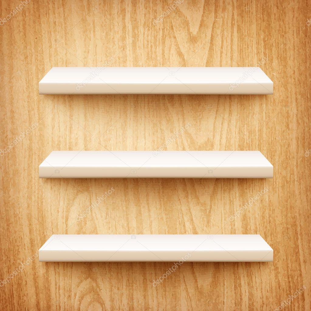 Witte Planken Aan De Muur.Realistische Witte Planken Op Houten Muur Stockvector