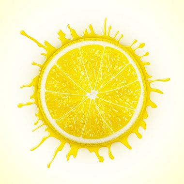 Fresh lemon with splash eps10 vector illustration stock vector