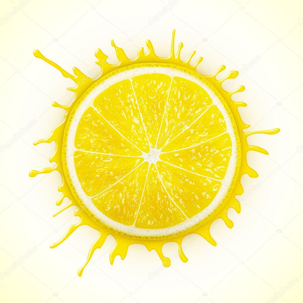 fresh lemon with splash