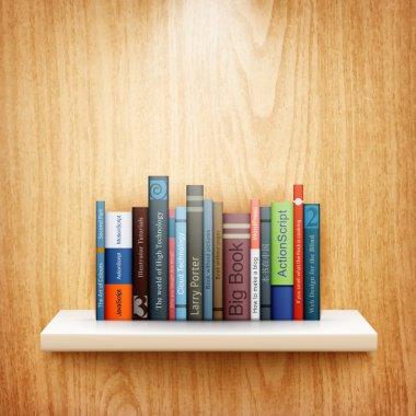 Books on wooden shelf eps10 vector illustration stock vector