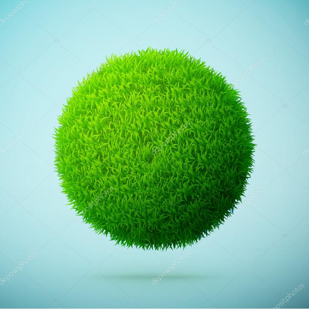 Green grass sphere on a blue clear background