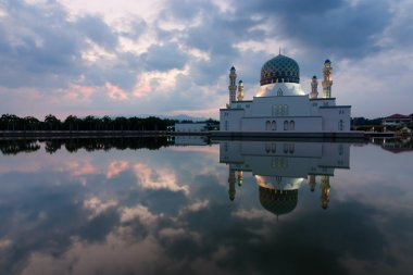 Reflection of Kota Kinabalu mosque in Sabah, East Malaysia, Borneo