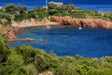 Beautiful Scenic Coastline on the French Riviera near Cannes, Fr