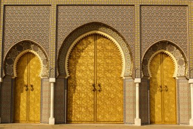 Closeup of 3 Ornate Brass and Tile Doors to Royal Palace in Fez,