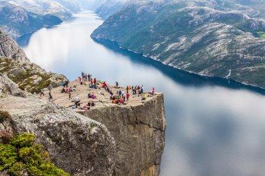 Preikestolen,Pulpit Rock at Lysefjorden (Norway). A well known t
