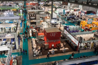 Top view of booths and people at Host 2013 in Milan, Italy