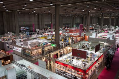 Top view of booths and people at Chibimart 2013 in Milan, Italy