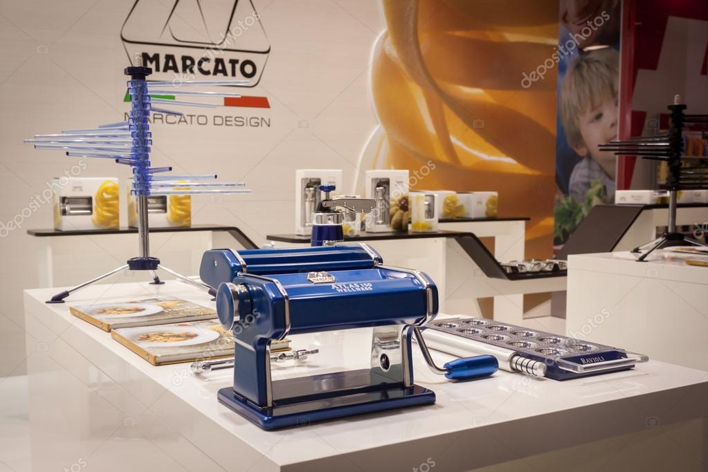 Pasta machine on display at HOMI, home international show in Milan, Italy