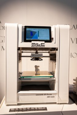 3D printer on display at HOMI, home international show in Milan, Italy