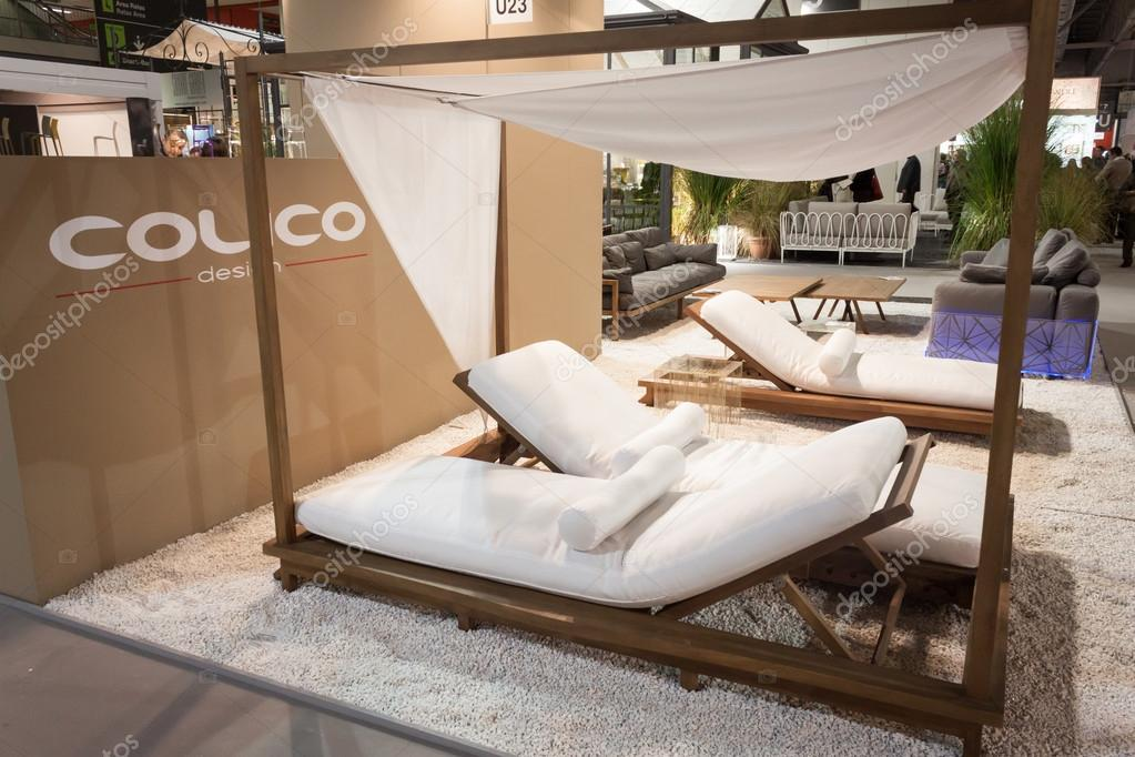 Beach lounger on display at HOMI, home international show in Milan, Italy