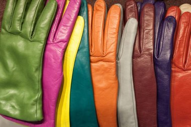 Leather gloves on display at Mipap trade show in Milan, Italy