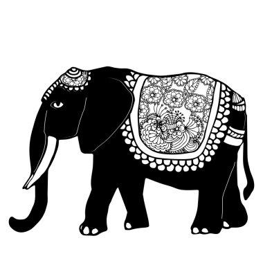Stylized fantasy patterned elephant.