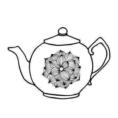Tea pot with floral decoration