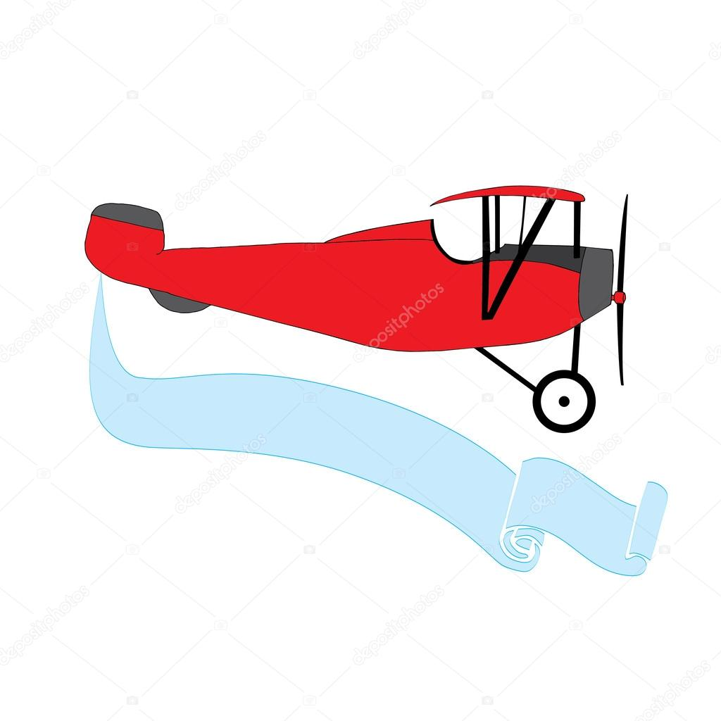 Red Vintage Airplane With Blue Banner Stock Vector