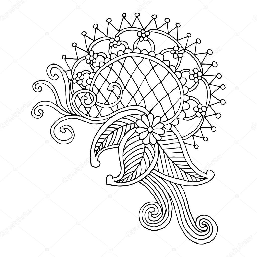 Line Drawing Embroidery : Neckline embroidery design — stock vector zelena