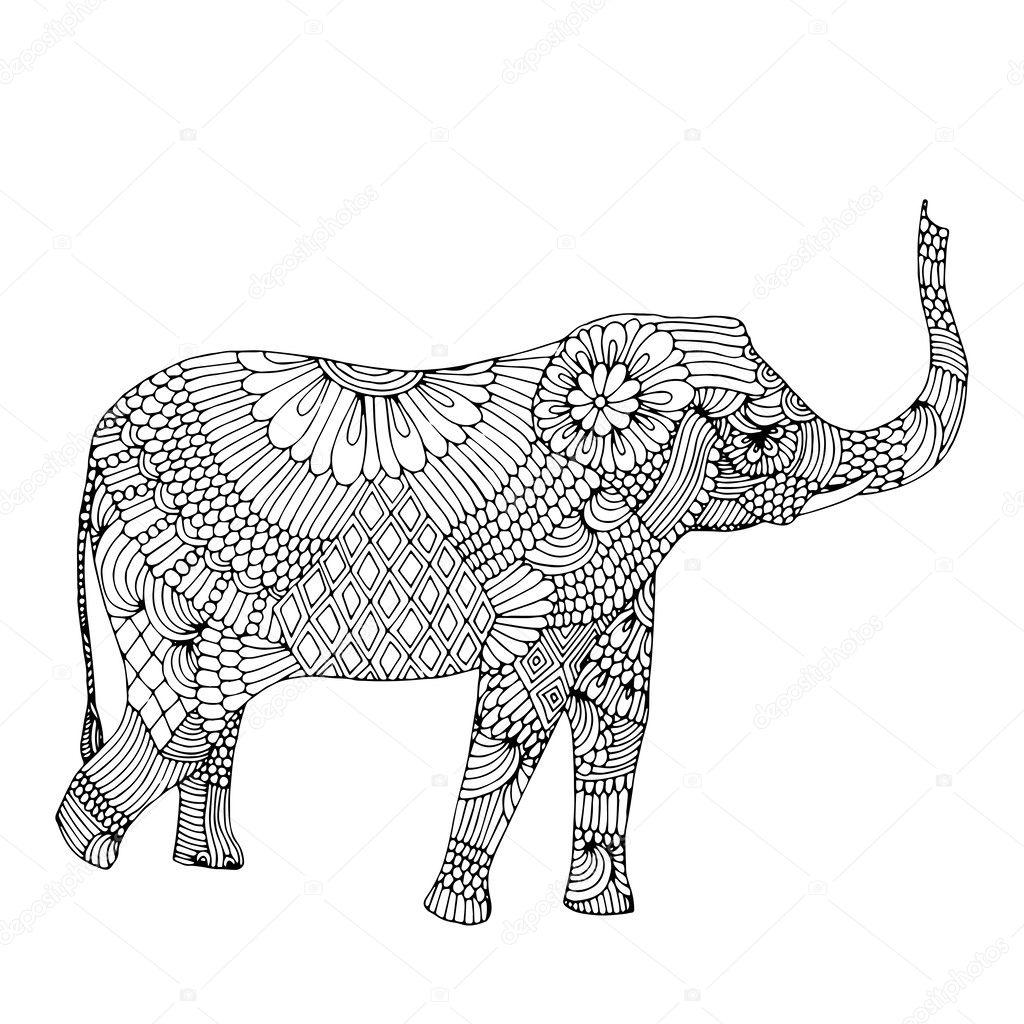 embroidery elephant u2014 stock vector zelena 34463073