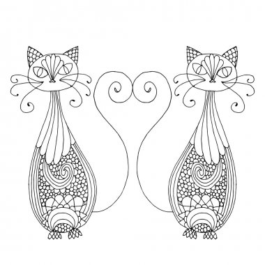 Stylized patterned illustration of cats