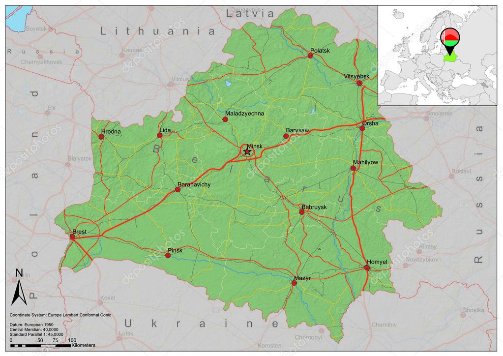 Belarus road relief map Stock Vector BenKenogy 40086955