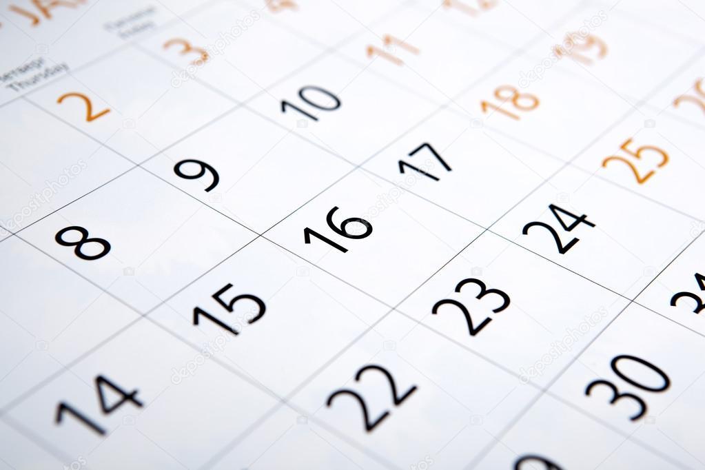 Calendario Con Numero Giorni.Foglio Di Un Calendario Con Il Numero Di Giorni Foto Stock