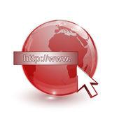 skleněná koule země mapu 3d červené a kurzor s internetovou adresu