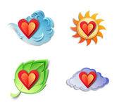 Krásné počasí objekty. papír řez ilustrace