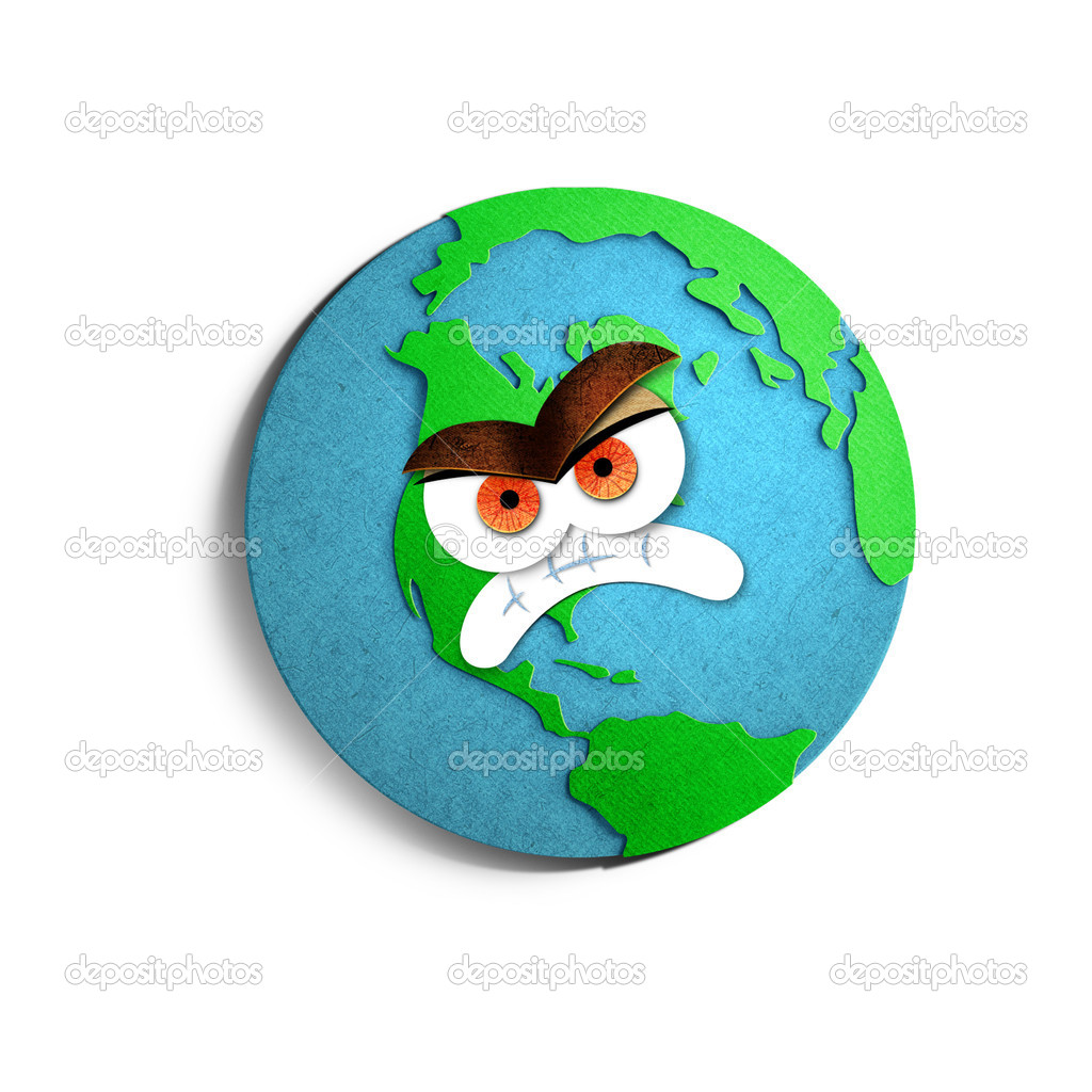 Angry cartoon Earth globe. Paper cut illustration. Isolated on white background