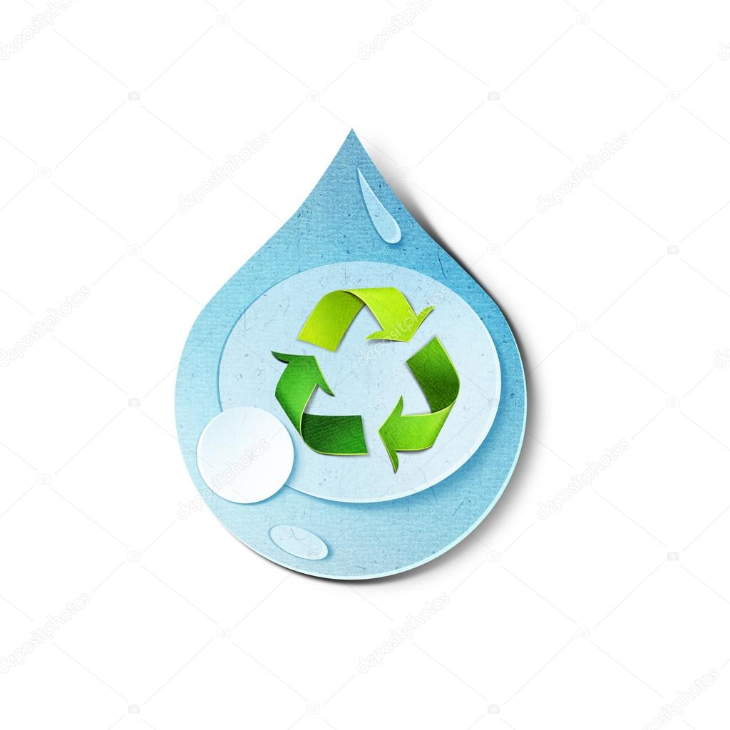 goutte d 39 eau avec le symbole de recyclage l 39 int rieur. Black Bedroom Furniture Sets. Home Design Ideas
