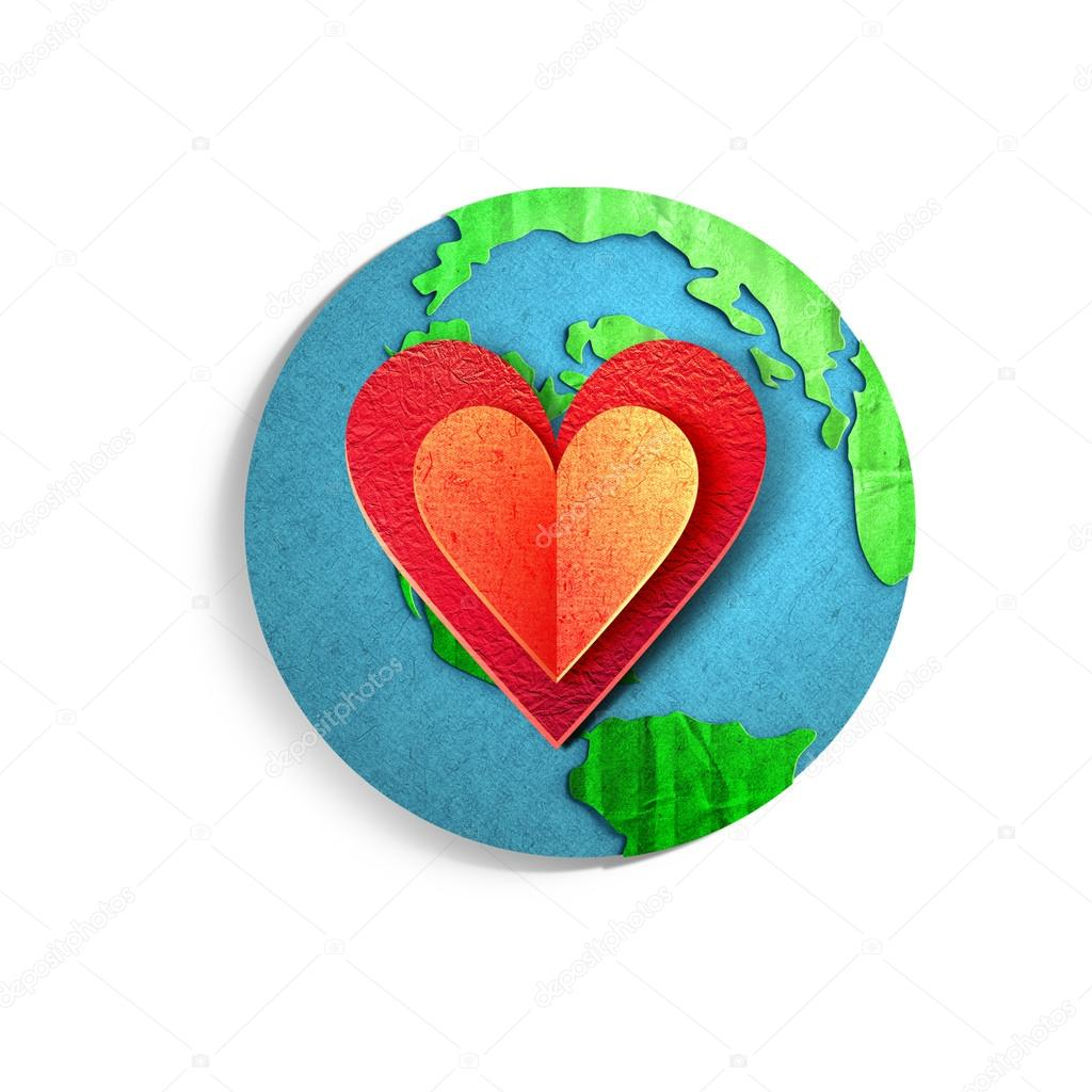 Environmental concept. Paper cut illustration. Earth globe with big red heart