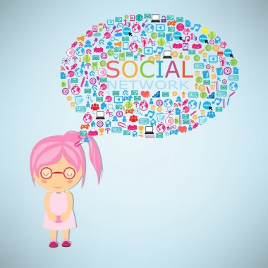 Girls think social network buzz words and icons forming the shap