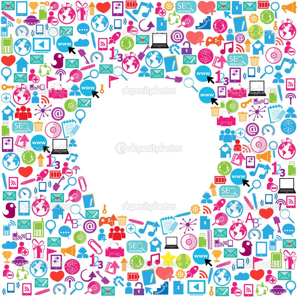 diseño de plantillas con fondo iconos de redes sociales, nube ...