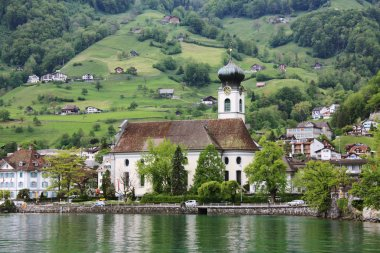 Church on the lake in Switzerland.