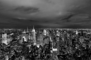 New York Night Skyline in black and white city of lights