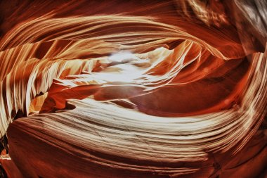 Antelope Canyon illuminated at noon