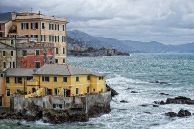 Sea Storm on Genova pictoresque boccadasse village