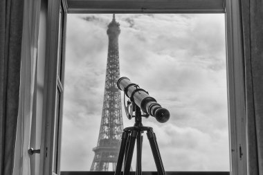 paris tour eiffel view from room in black and white