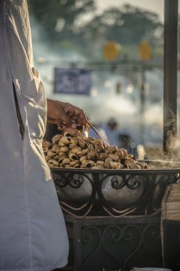 Traditional food stalls in Marrakech, Morocco