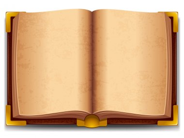 Opened old book in leather cover and with golden decoration. stock vector