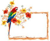 Papoušek a tropické květiny