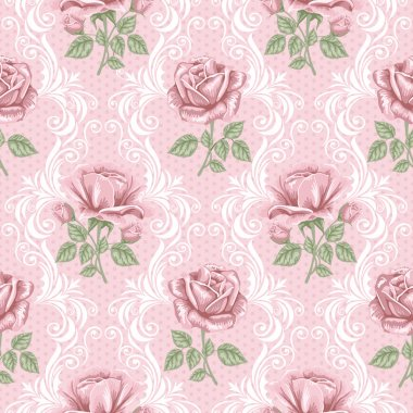 Retro flower seamless pattern - roses