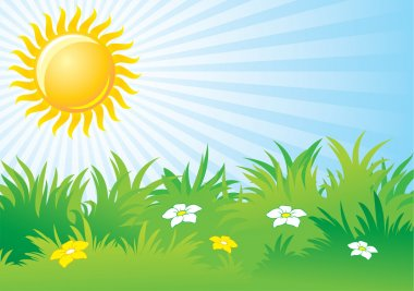 Bright sunny day, vector background stock vector