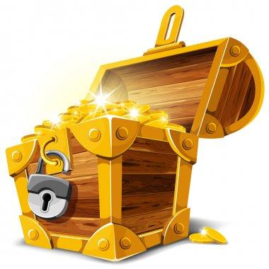 Opened antique treasure chest. Vector illustration. stock vector