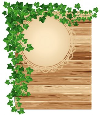 Wooden background with ivy