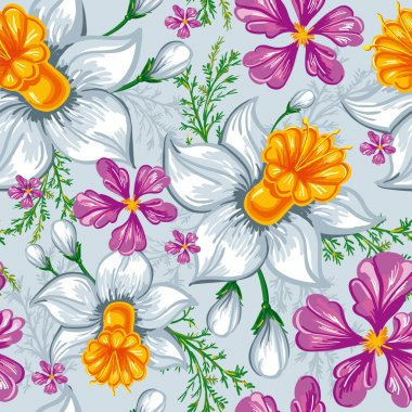 Seamless pattern with narcissus and iris