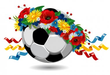 Soccer ball in a wreath of flowers